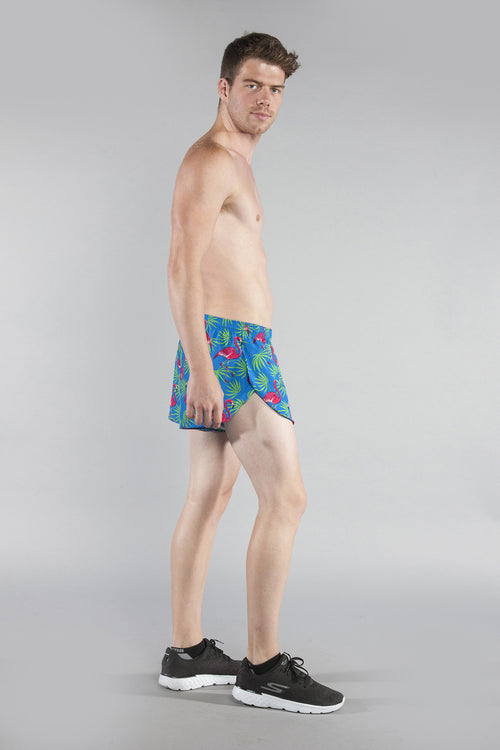 "MENS STRETCH 1"" ELITE PRINTED SPLIT RUN SHORT- FLAMINGO TURQUOISE - BOAUSA"