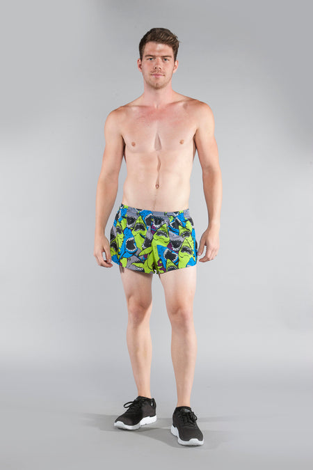 "MENS STRETCH 1"" ELITE PRINTED SPLIT RUN SHORT- RIPTIDE 616B"