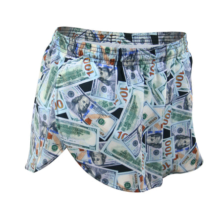 "MENS STRETCH 1"" ELITE PRINTED SPLIT RUN SHORT- MR. POOP"