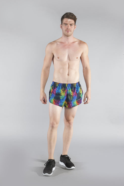 "MENS STRETCH 1"" ELITE PRINTED SPLIT RUN SHORT- PINA COLADA - BOAUSA"