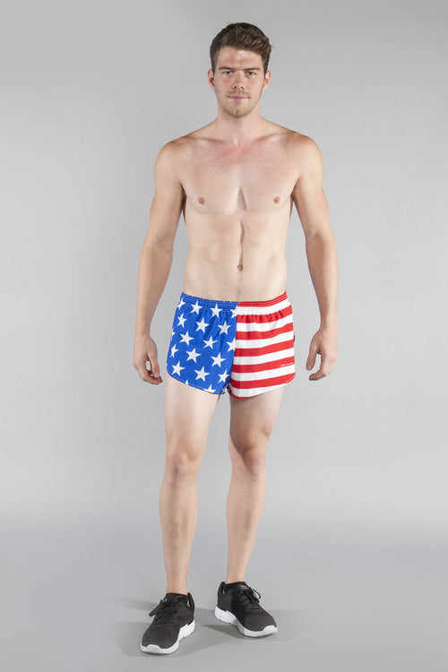 "MENS STRETCH 1"" ELITE PRINTED SPLIT RUN SHORT- US FLAG - BOAUSA"