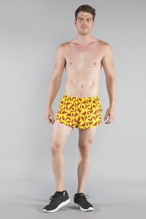 "MENS STRETCH 1"" ELITE PRINTED SPLIT RUN SHORT- YELLOW CHILI PEPPER - BOAUSA"