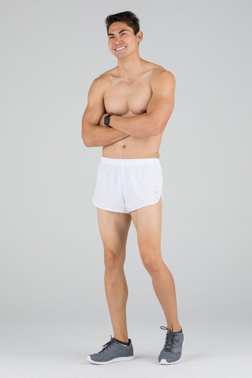 MENS STRETCH 1 INCH ELITE SPLIT RUNNING SHORTS- WHITE