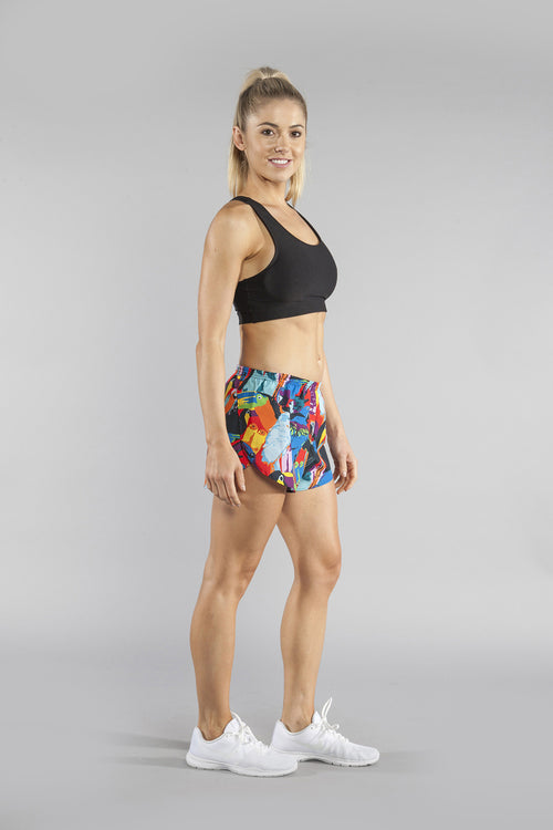 "WOMENS STRETCH 1"" ELITE PRINTED SPLIT RUN SHORT- TOUCAN - BOAUSA"