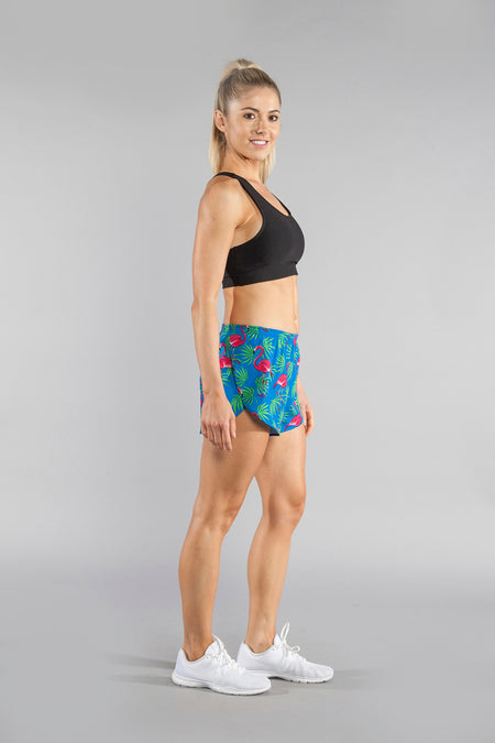 "WOMENS STRETCH 1"" ELITE PRINTED SPLIT RUN SHORT- PALM ISLAND SILVER"