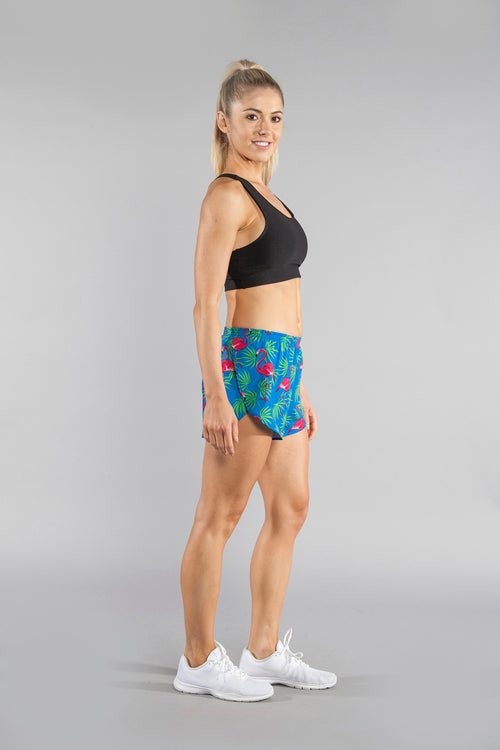 "WOMENS STRETCH 1"" ELITE PRINTED SPLIT RUN SHORT- FLAMINGO TURQUOISE"