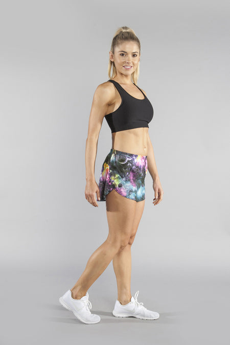 "WOMENS STRETCH 1"" ELITE PRINTED SPLIT RUN SHORT- ABYSS PESTO"