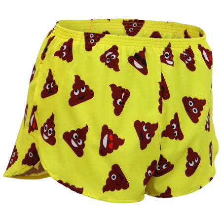 "WOMENS STRETCH 1"" ELITE PRINTED SPLIT RUN SHORT- YELLOW CHILI PEPPER"