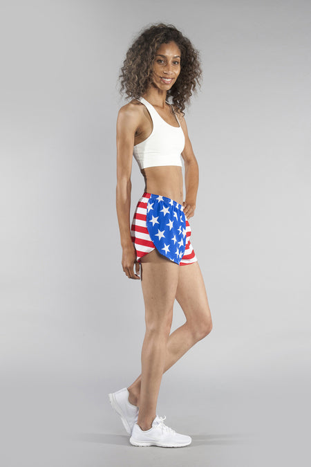 "WOMENS 1.5"" STRETCH PRINTED SPLIT TRAINER- AMERICAN FLAG"