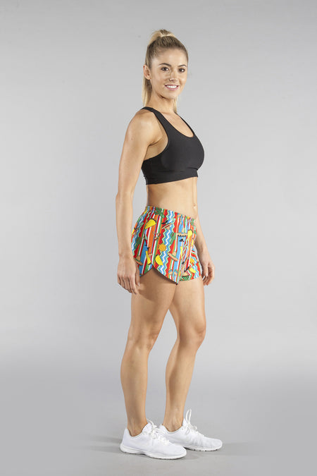 "WOMENS STRETCH 1"" ELITE PRINTED SPLIT RUN SHORT- GALAXY"
