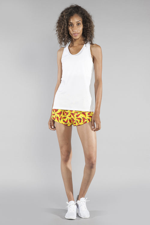 "WOMENS STRETCH 1"" ELITE PRINTED SPLIT RUN SHORT- YELLOW CHILI PEPPER - BOAUSA"
