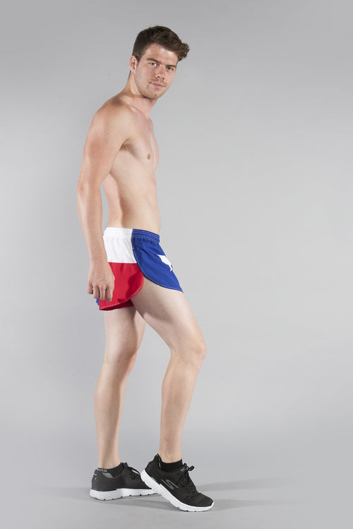 "MENS 1"" ELITE SPLIT RUNNING SHORT- TEXAS FLAG - BOAUSA"