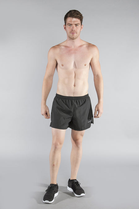 MENS 2-n-1 5 INCH ULTRA RUNNING SHORTS- CYPHER BLACK/YELLOW