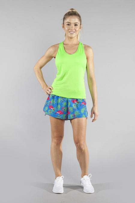 "WOMENS STRETCH 1"" ELITE PRINTED SPLIT RUN SHORT- FLAMINGO GREEN"