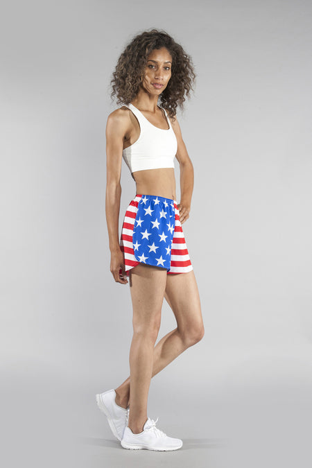 "WOMENS STRETCH 1"" ELITE PRINTED SPLIT RUN SHORT- AMERICAN FLAG"