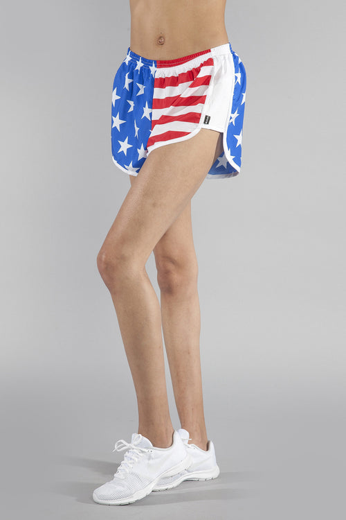 WOMENS STRETCH CHALLENGER SHORT- US FLAG - BOAUSA