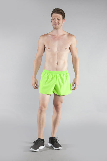 MENS BANDIT 3 INCH HALF SPLIT RUNNING SHORTS- MIRAGE LIME
