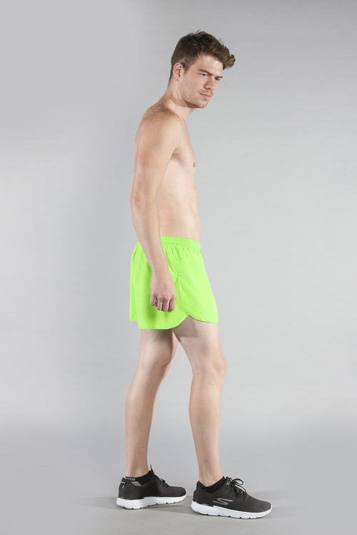 "MEN'S 3"" HALF SPLIT TRAINER- NEON LIME - BOAUSA"