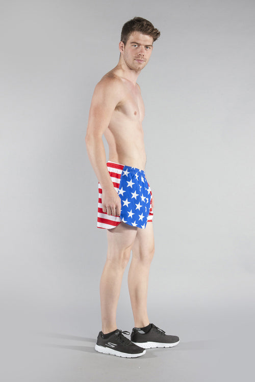 "MEN'S STRETCH 3"" PRINTED HALF SPLIT TRAINER- US FLAG - BOAUSA"