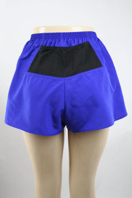 "WOMENS STRETCH 1"" ELITE PRINTED SPLIT RUN SHORT- ABYSS TRUE BLUE"