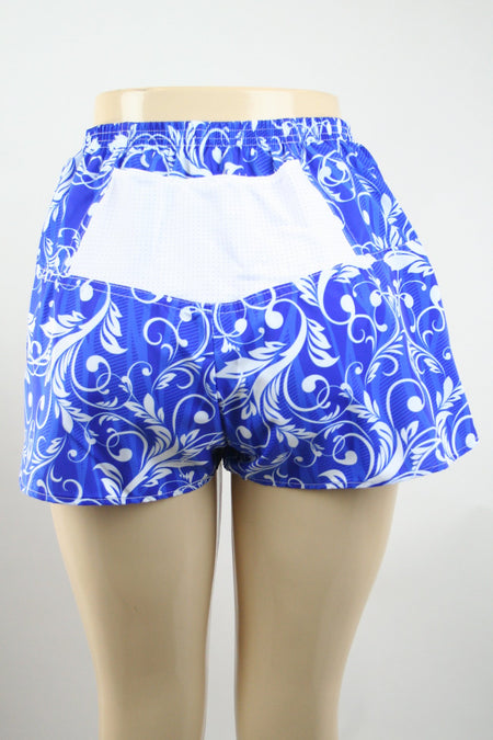 "WOMENS STRETCH 1"" ELITE PRINTED SPLIT RUN SHORT- ELEPHANT"