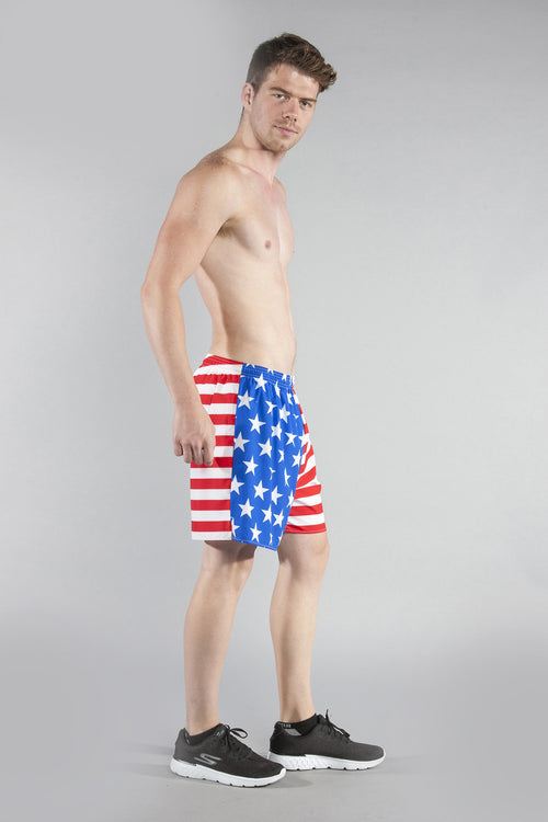 "MENS STRETCH 4.5"" PRINTED V-NOTCH- US FLAG - BOAUSA"