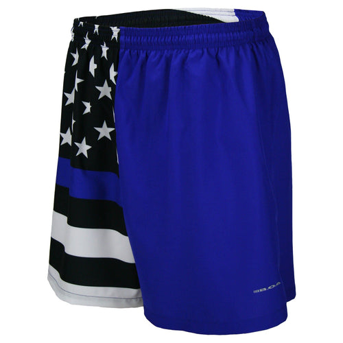 "MEN'S 5.5"" V-NOTCH GYM SHORT- THIN BLUE LINE"
