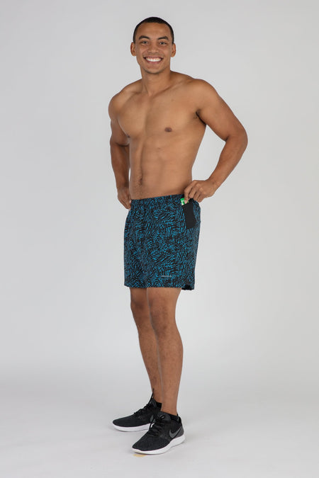 "MEN'S STRETCH 7"" CATALYST V-NOTCH RUNNING SHORT- CYPHER TITANIUM/BLK"