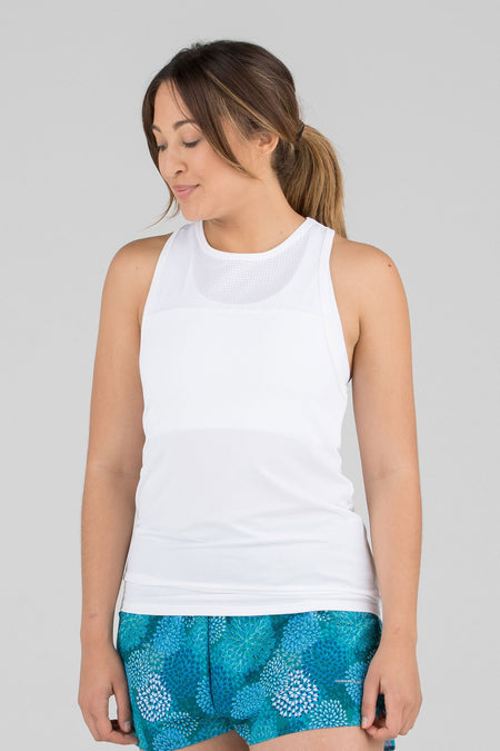 WOMEN'S HYPERSOFT TWISTY BACK RUNNING TANK- CURRENT BLACK