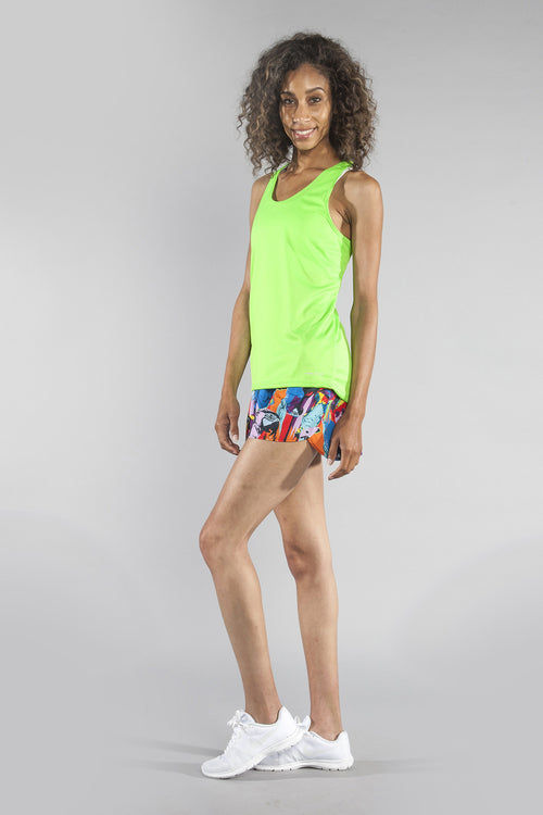 WOMEN'S INTERVAL SINGLET- NEON LIME - BOAUSA