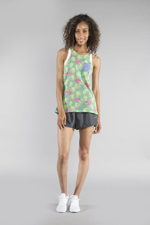 WOMEN'S PRINTED 50/50 TWISTY BACK- FLAMINGO GREEN - BOAUSA