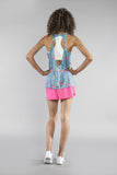 WOMEN'S PRINTED 50/50 TWISTY BACK- FLAMINGO TURQUOISE - BOAUSA