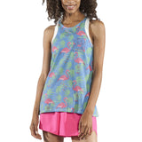 WOMEN'S PRINTED 50/50 TWISTY BACK- FLAMINGO TURQUOISE