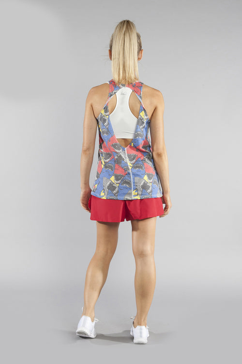 WOMEN'S PRINTED 50/50 TWISTY BACK- JAWS RED - BOAUSA