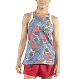 WOMEN'S PRINTED 50/50 TWISTY BACK- JAWS RED