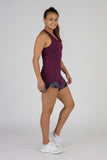 WOMEN'S ACTIVE EASE RUNNING SINGLET- EGGPLANT