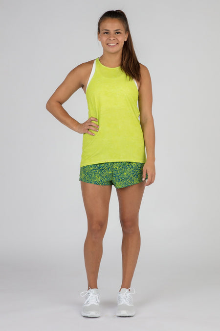WOMEN'S INTERVAL SINGLET- NEON LIME