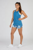 WOMEN'S HYPERSOFT TWISTY BACK RUNNING TOPS- CURRENT BLUE/WHITE