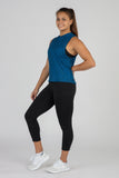 WOMEN'S HYPERSOFT CROP RUNNING TANK TOP- CURRENT BLUE/BLACK