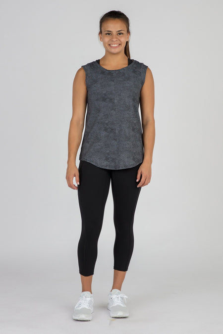 WOMEN'S HYPERSOFT CROP RUNNING TEE SHIRT- CURRENT BLUE/WHITE