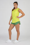WOMEN'S HYPERSOFT CROP RUNNING TEE SHIRT- CURRENT LIMEADE