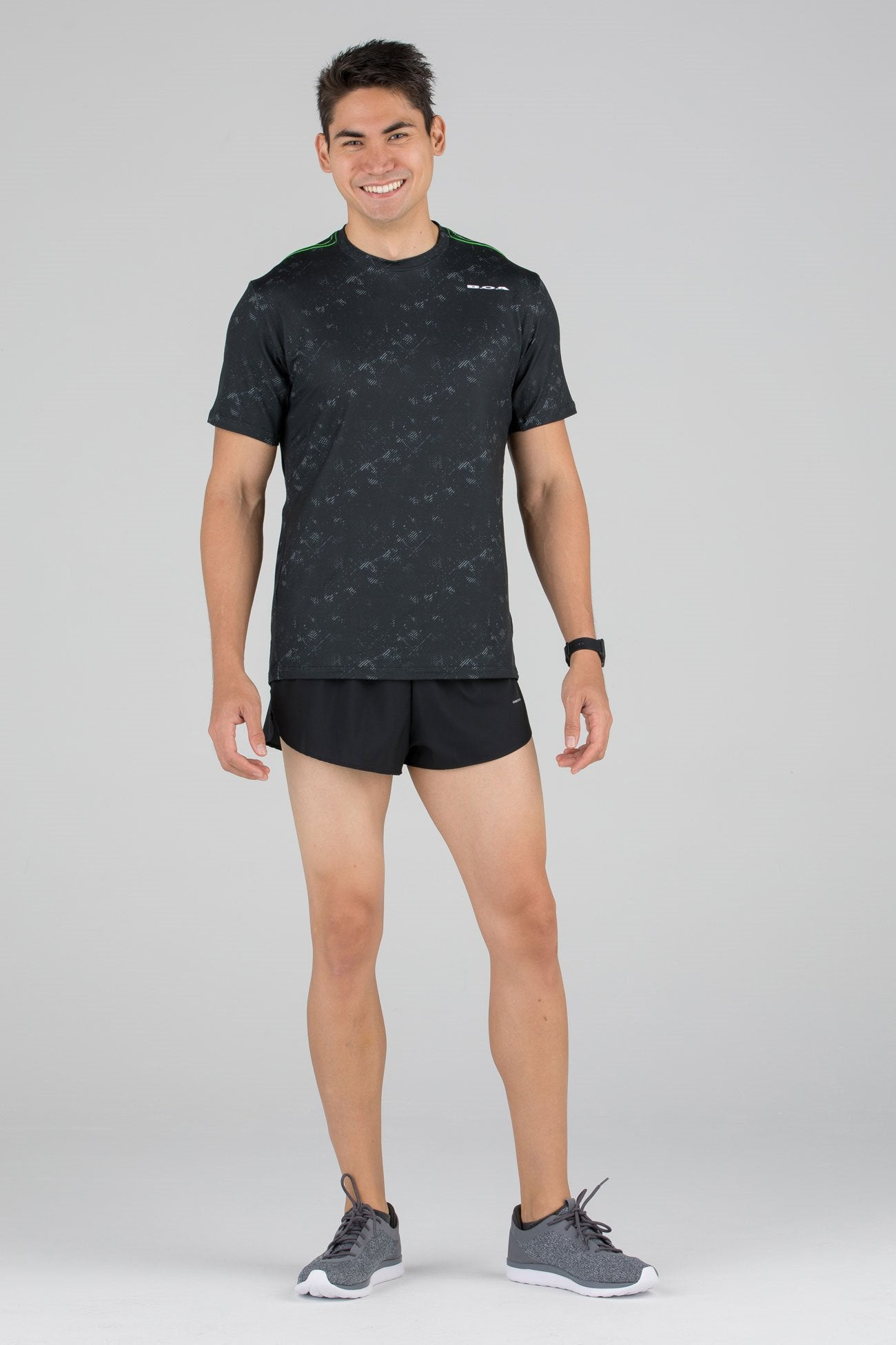 4459ab55b12 MENS HYPERSOFT SHORT SLEEVE RUNNING SHIRT- ILLUSION BLACK – BOA ...