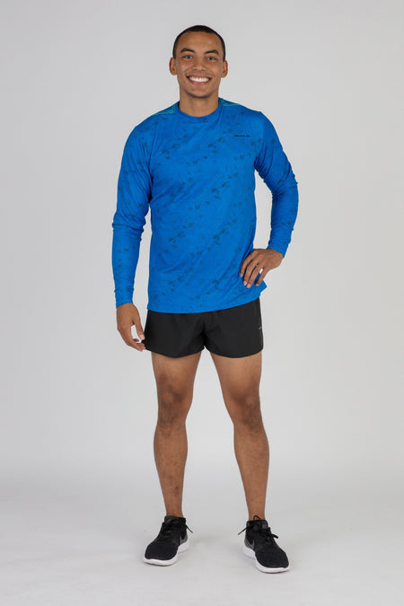 MEN'S VERSATEX CANYON SHORT SLEEVE RUNNING SHIRT- NAVY
