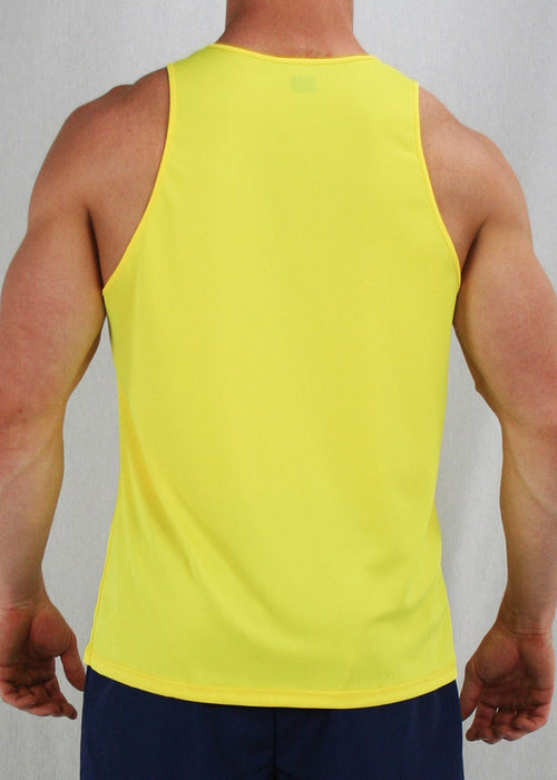 MEN'S NEON SOLID RUNNING SINGLETS- NEON YELLOW - BOAUSA