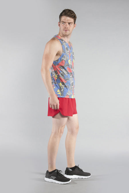 MENS 50/50 PRINTED SINGLET- FLAMINGO BLUE
