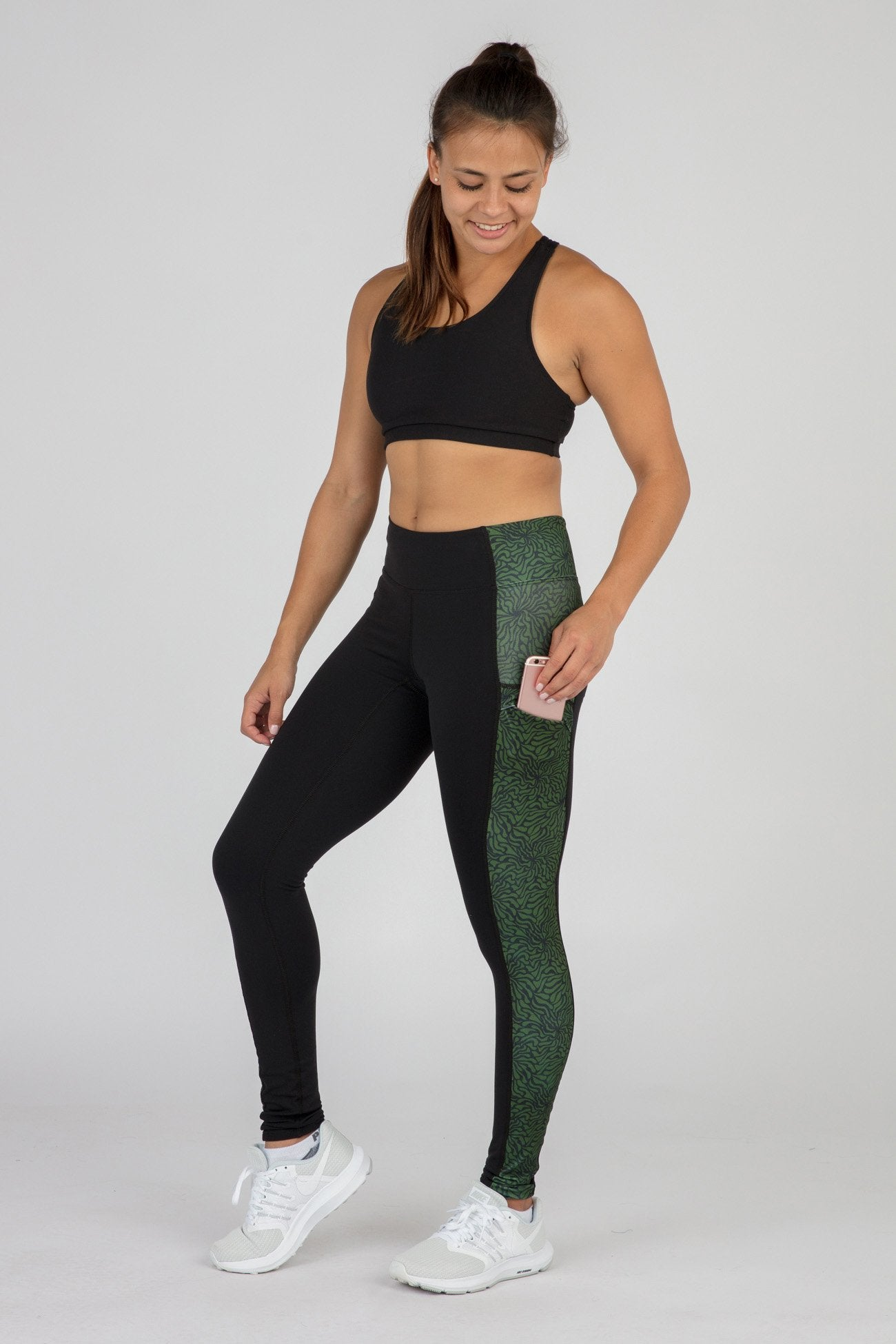 WOMEN S POWER X CONNECT RUNNING TIGHTS- ABYSS PESTO – BOA  7d15e0f99d764