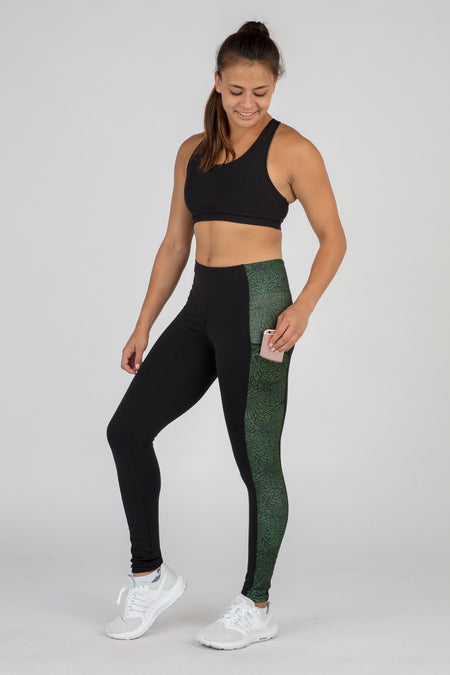 WOMEN'S POWER X CONNECT RUNNING TIGHTS- PALM ISLAND BLUE
