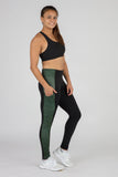 WOMEN'S POWER X CONNECT RUNNING TIGHTS- ABYSS PESTO