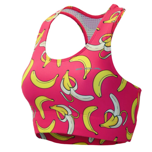 WOMEN'S PRINTED PERFORMANCE BRA- GONE BANANAS