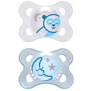 Mam Night 2 Pk Glow in the Dark Baby Pacifier, Soother, Dummy 4 months to 24mths